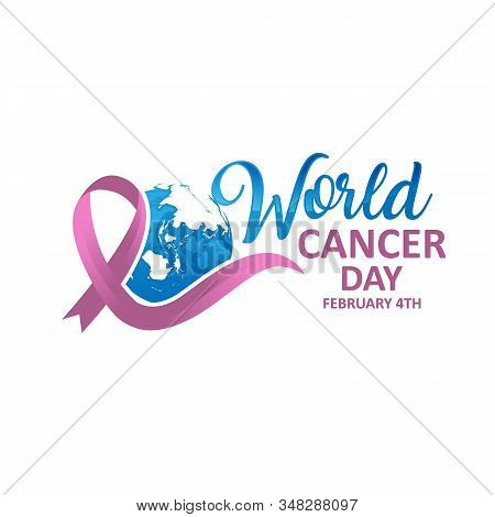 World Cancer Day. Calligraphy Poster Design. Realistic Lavender Ribbon. February 4 Th Is Cancer Awar