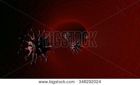 Coronavirus 2019-ncov Inside Human Body - Flu Outbreak Or Coronaviruses Influenza - 3d Illustration.