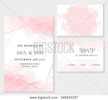 Stylish Dusty Pink And Gold Geometric Vector Design Cards. Set Of Golden Line Art Cards. Spring Wedd