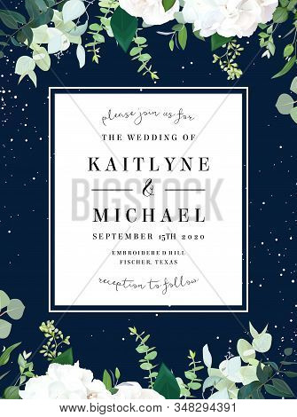 Square Botanical Vector Design Banner. White And Navy Blue. Eucalyptus, Rose, Hydrangea, Various Pla