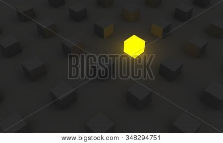Cube Shapes Pattern. Abstract Background. Neon Shine Outstanding One. Leadership Concept. 3d Renderi