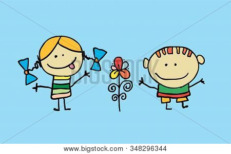 Cute Cartoon Kids, Girl And Boy With Flower, Vector Illustration. T-shirt Graphic. Cartoon Character