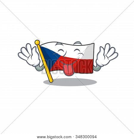 Cute Flag Czechia Cartoon Mascot Style With Tongue Out