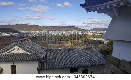 Himeji, Japan- 30 Nov, 2019: Aerial View Of Himeji Residence Downtown From Himeji Castle In Hyogo, J