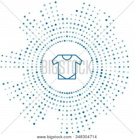 Blue Line Baby Onesie Icon Isolated On White Background. Baby Clothes Symbol. Kid Wear Sign. Abstrac