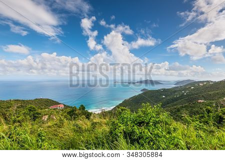 Beautiful View Of The Sea From The Hill Of Tortola In British V. Island (bvi), Caribbean.