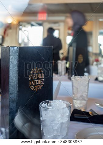New Orleans, Usa - Dec 11, 2017: In The Restaurant Dinning Area Of The Steamer Natchez. The Upright