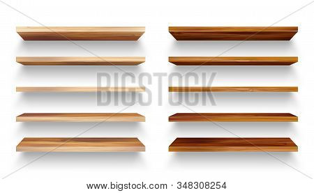 Realistic Empty Wooden Store Shelves Set. Product Shelf With Wood Texture. Grocery Wall Rack. Vector