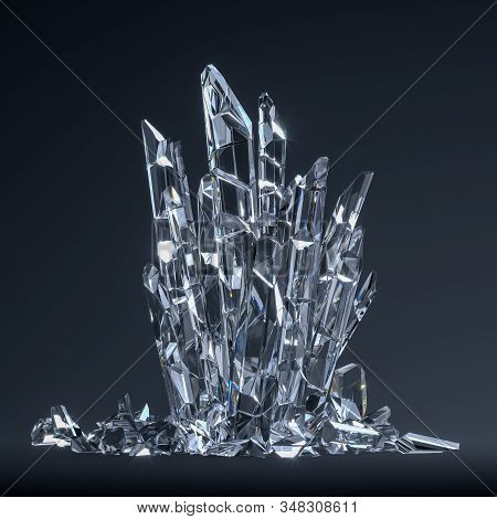 Transparent Crystals On Dark Background, Showcase In Shape Of Throne, 3d Rendering.