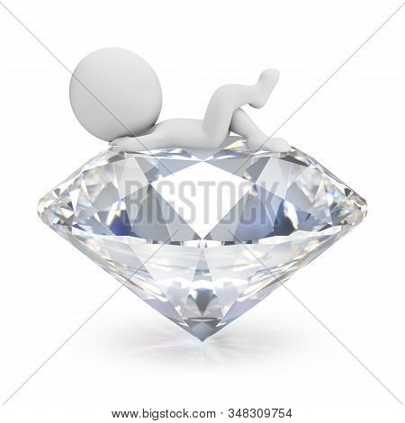 3d Small Person Lies On The Diamond. 3d Image. White Background.