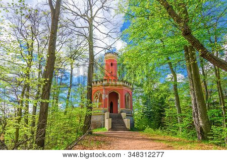 Charles Iv Lookout Tower Neo-gothic Brick Building In Slavkov Forest, Beech Trees With Green Leaves