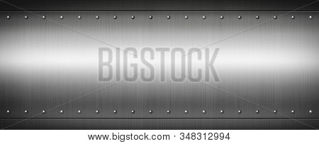 Steel Riveted Brushed Plate Background Texture. Metal Banner Background.