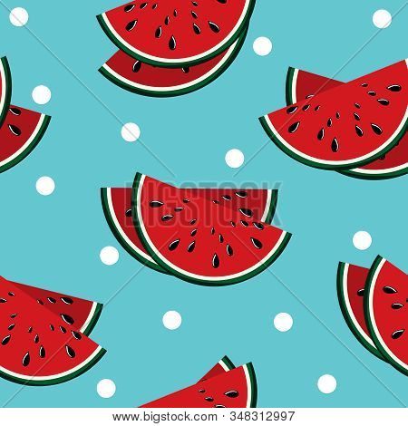 Seamless Pattern Of Fresh Ripe Watermelon With White Dot On Blue Background. Summer Concept Design W