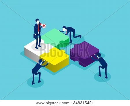 Isometric Team Connecting Puzzle Elements. Concept Isometric Business Teamwork Vector Illustration,
