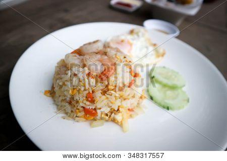 Shrimp Rice Or Fried Rice ,stir-fried Rice With Shrimp And Fried Egg