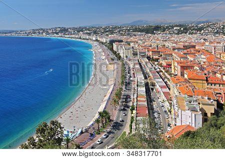 Promenade Des Anglais, The Marche Aux Fleurs And The City Of Nice From The Parc De Colline Du Chatea