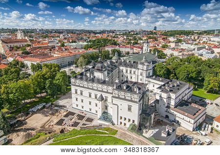 View Of Cathedral Square Of Vilnius, Lithuania. The Cathedral Of Vilnius Is The Heart Of Catholic Sp