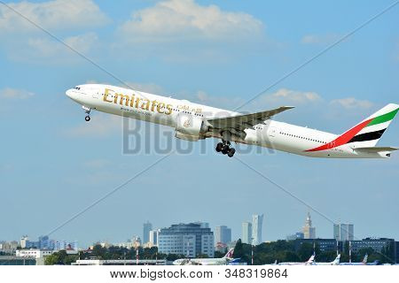 Warsaw, Poland. 21 July 2018. Airplane A6-epl Emirates Boeing 777-31h(er) Taking Off From The Warsaw