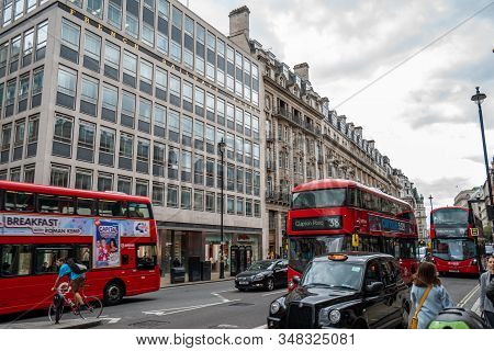 London - 2019: Transport On The Streets Of London: Red Buses And Taxis