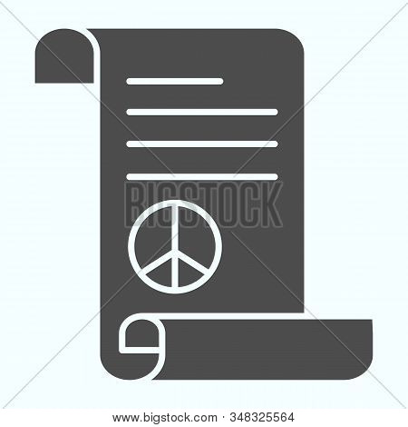 Peace Treaty Solid Icon. Document With Peace Symbol Vector Illustration Isolated On White. Pacific S