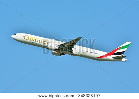 Warsaw, Poland.4 May 2018.  Passenger Airplane Boeing 777-300 Er Emirates Airlines Is Flying From Th
