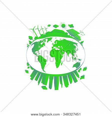 Green City Concept. Solar And Wind Power. Green Sustainable Energy, Ecology Development Environment,