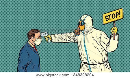 Temperature Measurement Stop Doctor Quarantine. Novel Wuhan Coronavirus 2019-ncov Epidemic Outbreak.