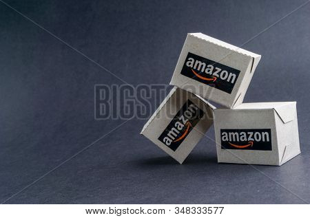 Kuala Lumpur, Malaysia - January 29, 2020 : Amazon Shipping Packages Boxes On Black Background. Copy