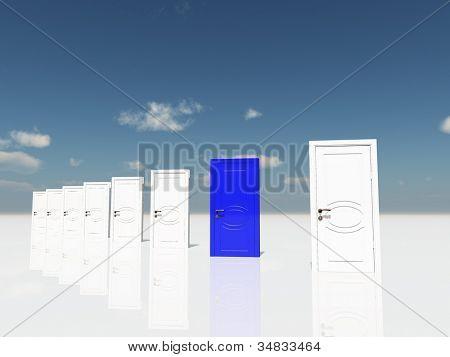 Sigle blue door in surreal landscape