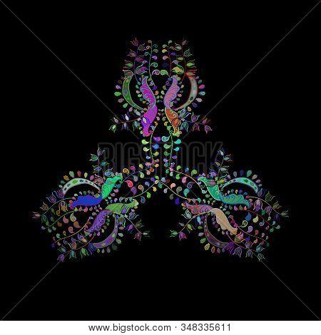 Images On A Blue, Black And Green Colors Vector Illustration. Sketch Pattern Elegant Decorative Orna