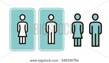 Male And Female Wc Sign Icon. Toilet, Restroom, Washroom Symbol Vector