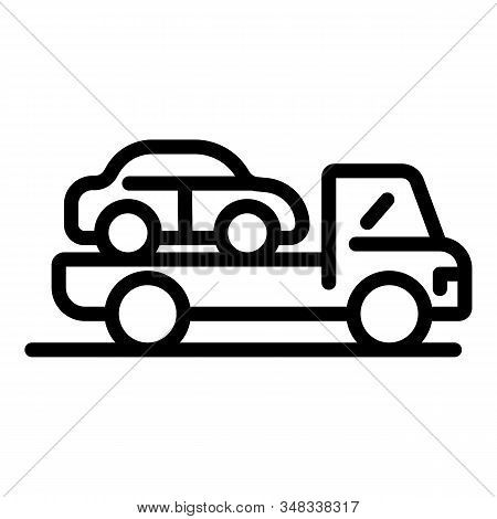 Car On A Tow Truck Icon. Outline Car On A Tow Truck Vector Icon For Web Design Isolated On White Bac