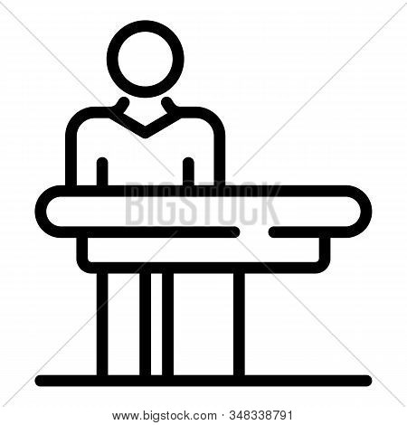 Masseur At The Massage Table Icon. Outline Masseur At The Massage Table Vector Icon For Web Design I