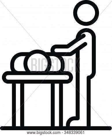 Masseur At Work Icon. Outline Masseur At Work Vector Icon For Web Design Isolated On White Backgroun