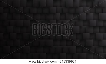 Conceptual Dark 3d Square Blocks Technological Minimalist Black Abstract Background. Science Technol