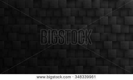 Conceptual Dark 3d Square Blocks Technological Minimalist Black Abstract Background. Science Technol