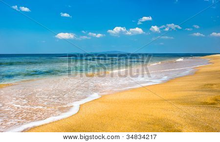 Beautiful clear beach in famous russian primorye Livadia bay