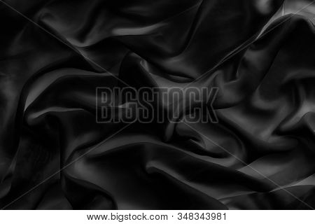 Luxury Black Soft Silk Flatlay Background Texture, Holiday Glamour Abstract Backdrop