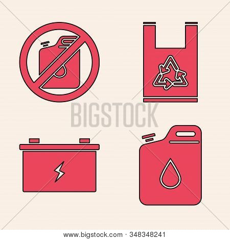 Set Canister For Gasoline, No Canister For Gasoline, Plastic Bag With Recycle And Car Battery Icon.