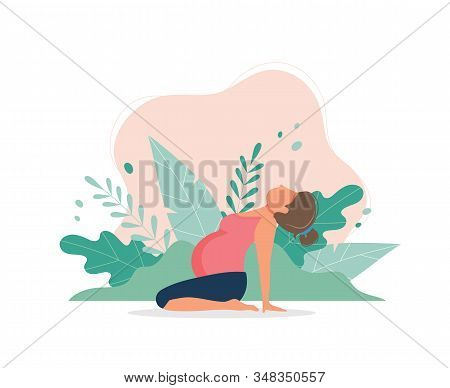 Pregnant Woman Doing Prenatal Yoga. Pregnancy Health Concept. Cute Vector Illustration In Flat Style