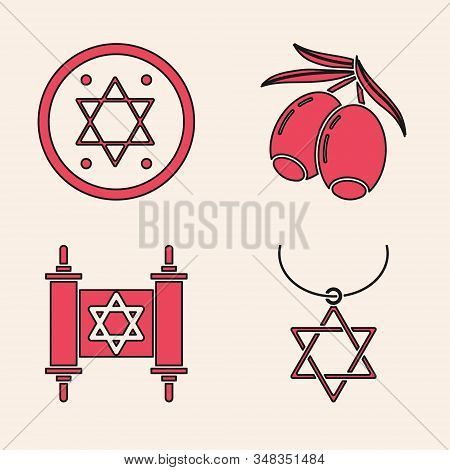 Set Star Of David Necklace On Chain, Jewish Coin, Olives Branch And Torah Scroll Icon. Vector
