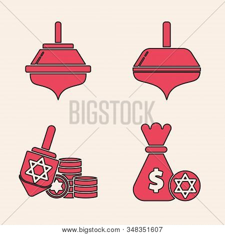 Set Jewish Money Bag With Star Of David And Coin, Hanukkah Dreidel, Hanukkah Dreidel And Hanukkah Dr