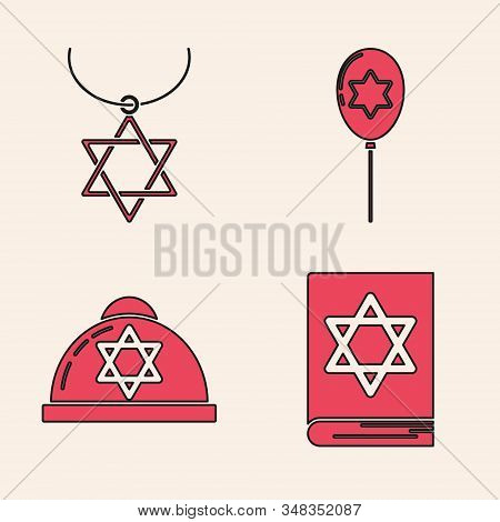 Set Jewish Torah Book, Star Of David Necklace On Chain, Balloons With Ribbon With Star Of David And