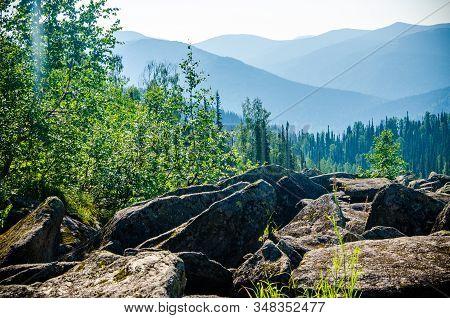 Mountain Range. Big High Hills In Green