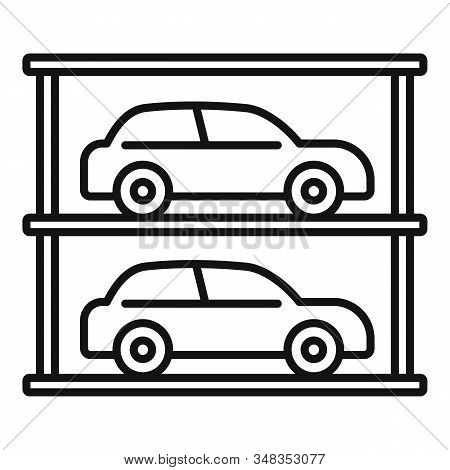 Underground Mall Parking Icon. Outline Underground Mall Parking Vector Icon For Web Design Isolated
