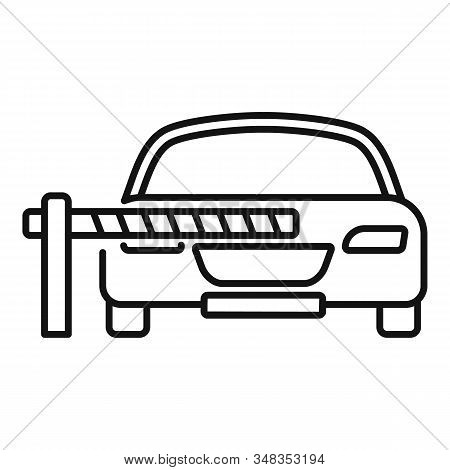 Car Parking Barrier Icon. Outline Car Parking Barrier Vector Icon For Web Design Isolated On White B