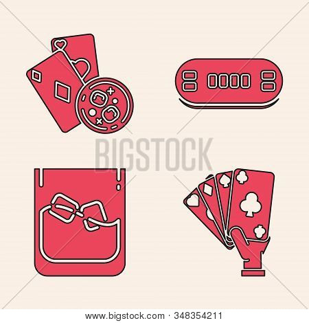 Set Hand Holding Playing Cards, Playing Cards And Glass Of Whiskey With Ice Cubes, Poker Table And G