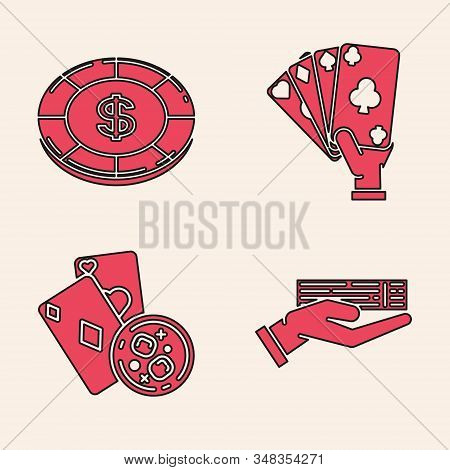 Set Hand Holding Deck Of Playing Cards, Casino Chip With Dollar Symbol, Hand Holding Playing Cards A