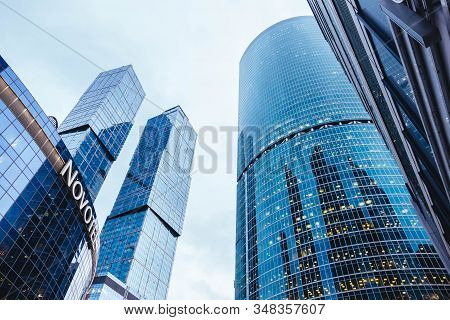 Moscow, Russia - January 10, 2020: Glass Skyscrapers In Moscow With A View From Below.