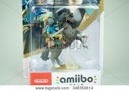 Bangkok, Thailand - February 1, 2020. Figure Amiibo Game Of Link  Zelda For Nintendo Switch. Game Th